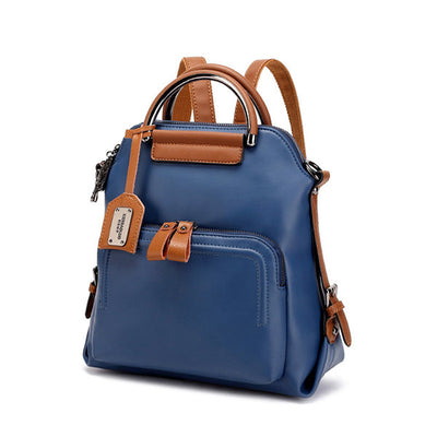 Women's Faux Leather Pure Color Backpack Large Capacity Shoulder Bag