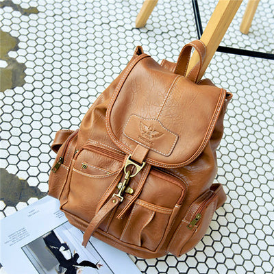 Women's PU Leather Vintage Shoulder Bag School Bag Backpack