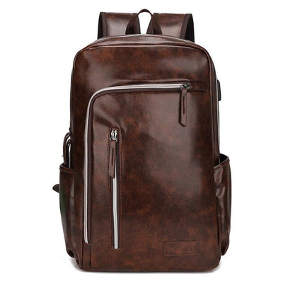 Men's Leather Backpack Casual Waterproof Travel Backpack Bag