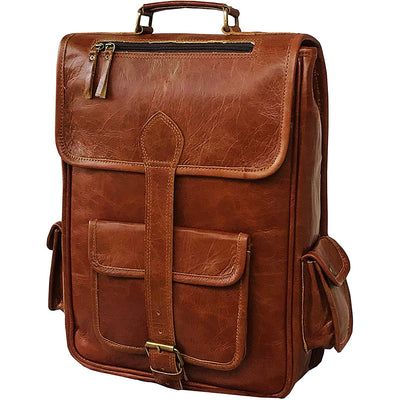 Men's Leather Backpack Vintage Laptop Bookbag