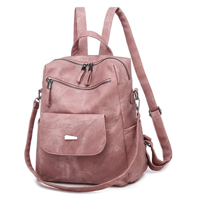 Women's PU Leather Retro Fashion Handbag Backpack