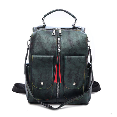 Women's Retro Leather Zipper Large Capacity Multifunction Backpack