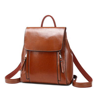 Women's PU Leather fashion oil wax leather backpack bag handbag