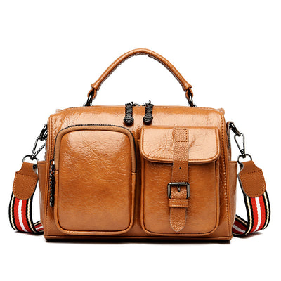 Women's Simple Multi-purpose Oil Wax Cowhide Hand Shoulder Handbag Shoulder Bag