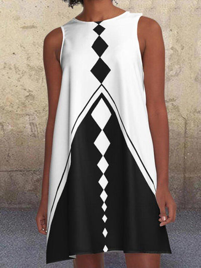 Geometric Sleeveless Crew Neck Casual A-line Dresses