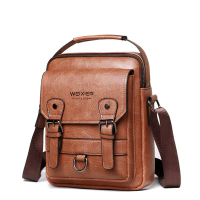Men's Casual PU Leather Retro Messenger Bag Crossbody Bags