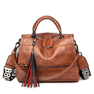 Women's Retro Leather Tassel Handbag Crossbody Bag