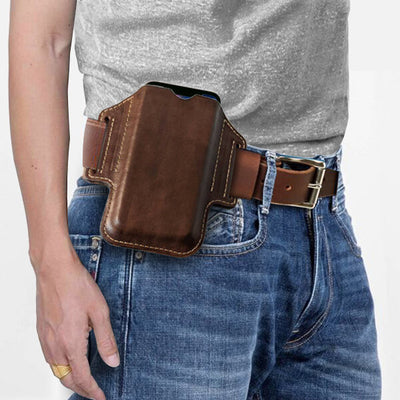 Men's EDC Genuine Leather Retro 6.3 Inch Phone Holder Waist Belt Bag