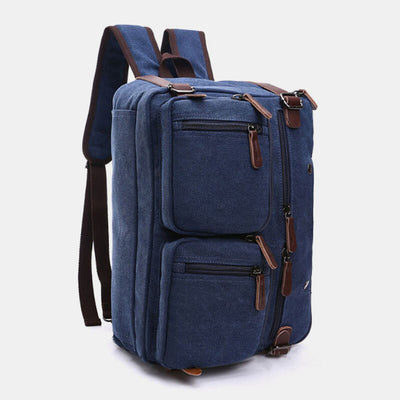 Men's Canvas Multi-function Travel Backpack Crossbody Bag
