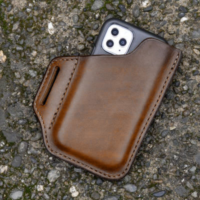 Men's EDC Genuine Leather Retro 6.3 Inch Phone Bag