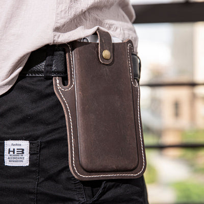 Men's EDC Genuine Leather 6.3 Inch Retro Short Cell Phone Case Belt Bag
