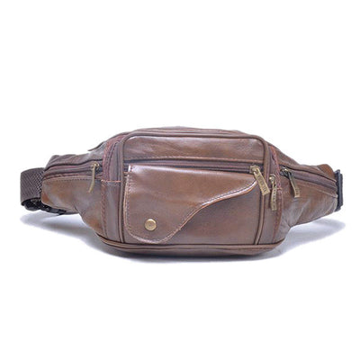 Men's Genuine Leather Large Capacity Outdoor Waist Bag Multi-functional Crossbody Bag Phone Bag