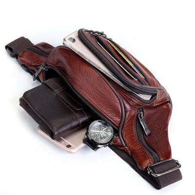 Men's Genuine Leather Multi-function Large Capacity Waist Bag Crossbody Bag Chest Bag
