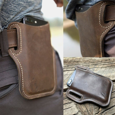 Men's Genuine Leather 7.2 Inch EDC Retro Short Cell Phone Case Belt Bag