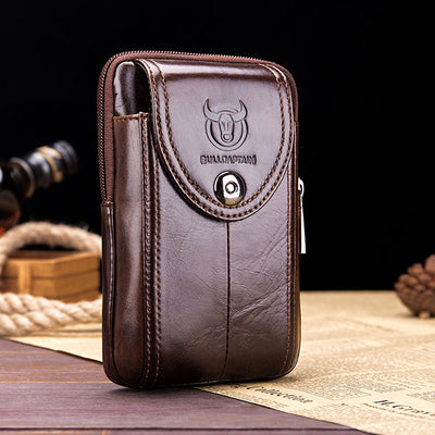 Men's Bullcaptain Genuine Leather Waist Bag Portable 5.5'' 6'' Phone Bag Crossbody Bag