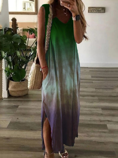 Women'S V-Neck Tie-Dye Gradient Split Sleeveless Dress