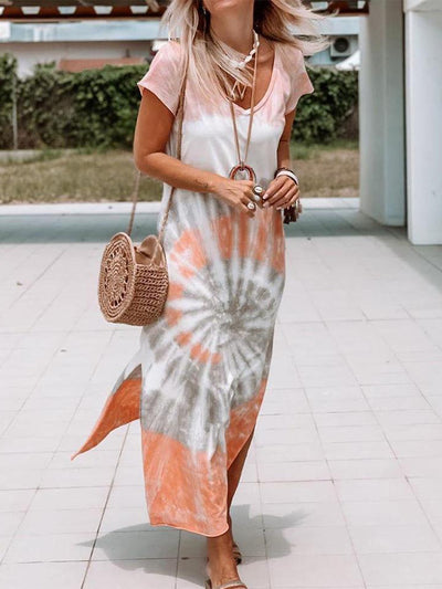 Women'S V-Neck Tie-Dye Dress