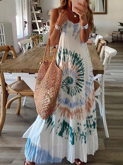 Women'S Tie-Dye Sleeveless Maxi Dress
