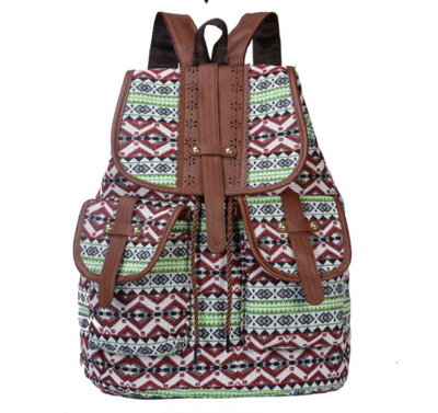 Women's ethnic style retro pattern backpack canvas travel drawstring small backpack
