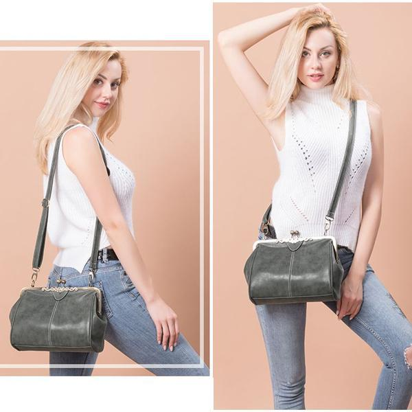 Women Retro Solid Handbag Crossbody Bag