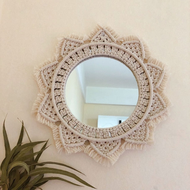 Macrame Tapestry Wall Mirror