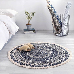 Harduf Round Carpet - Blue/Black
