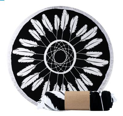 Jbeil Round Feather Beach Towel