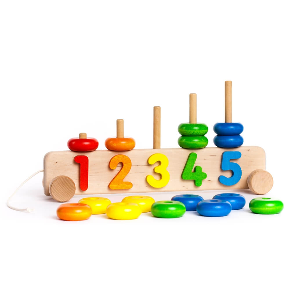 Bajo 1 to 5 Number Stacker with pieces on the ground