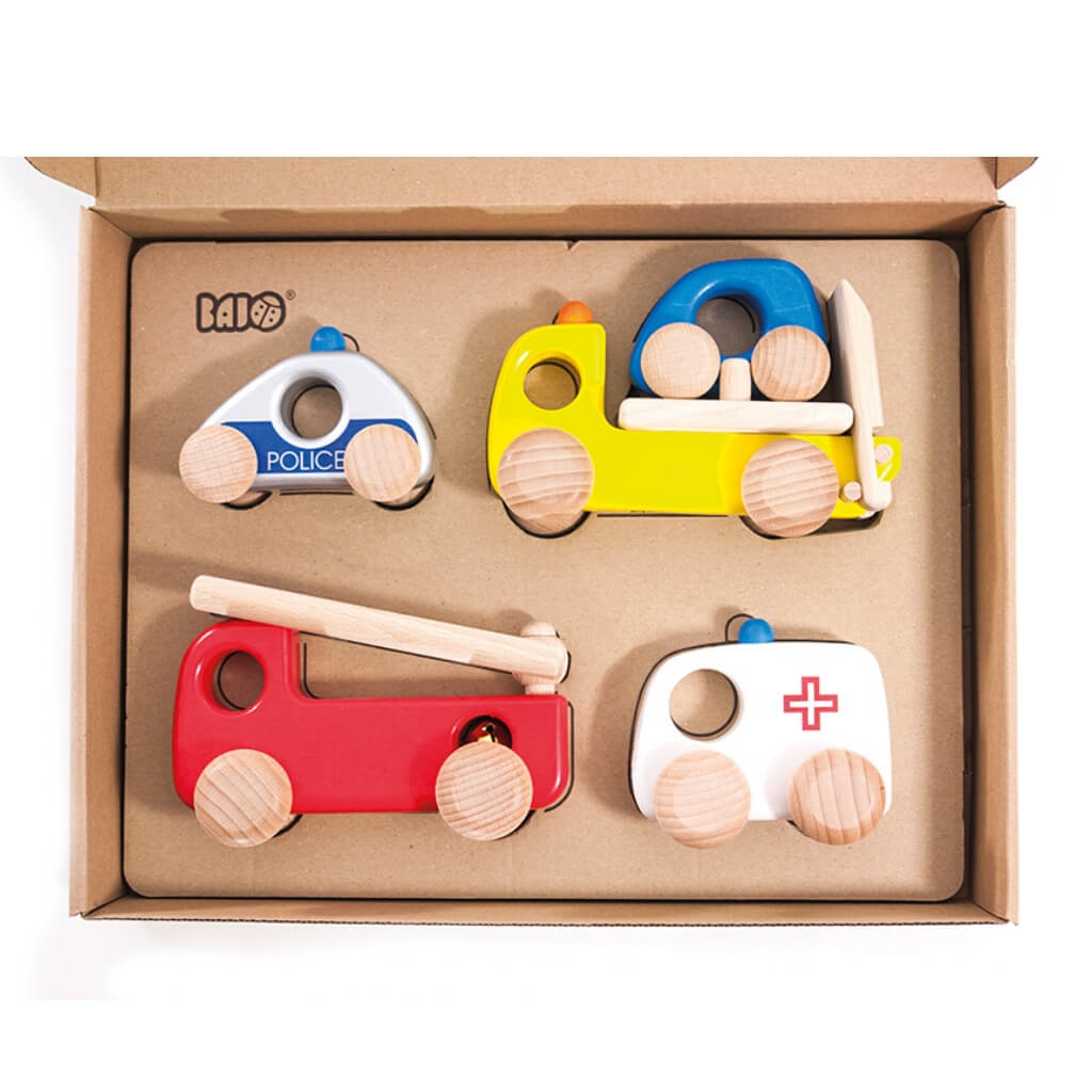 Bajo Emergency Vehicles Set in box with lid open