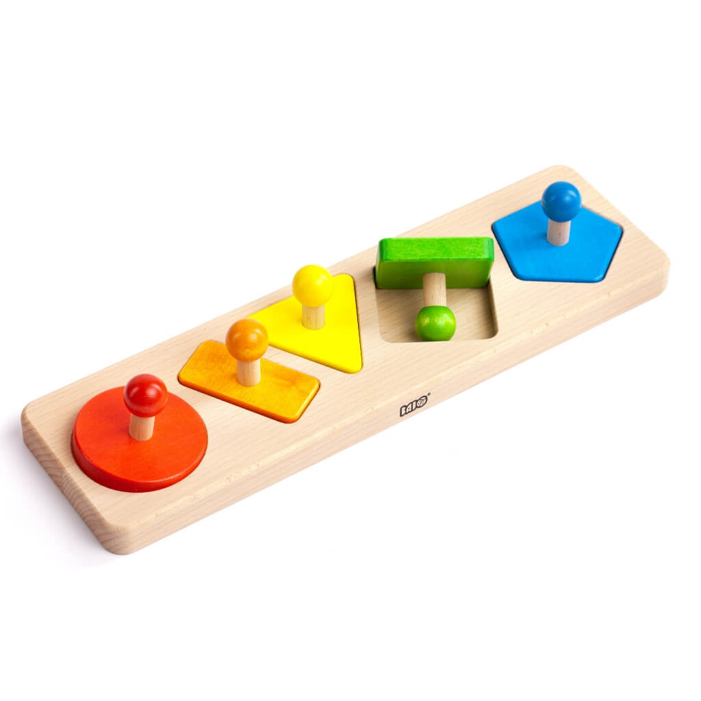 Bajo Shapes Sorting Board with the green square turned over