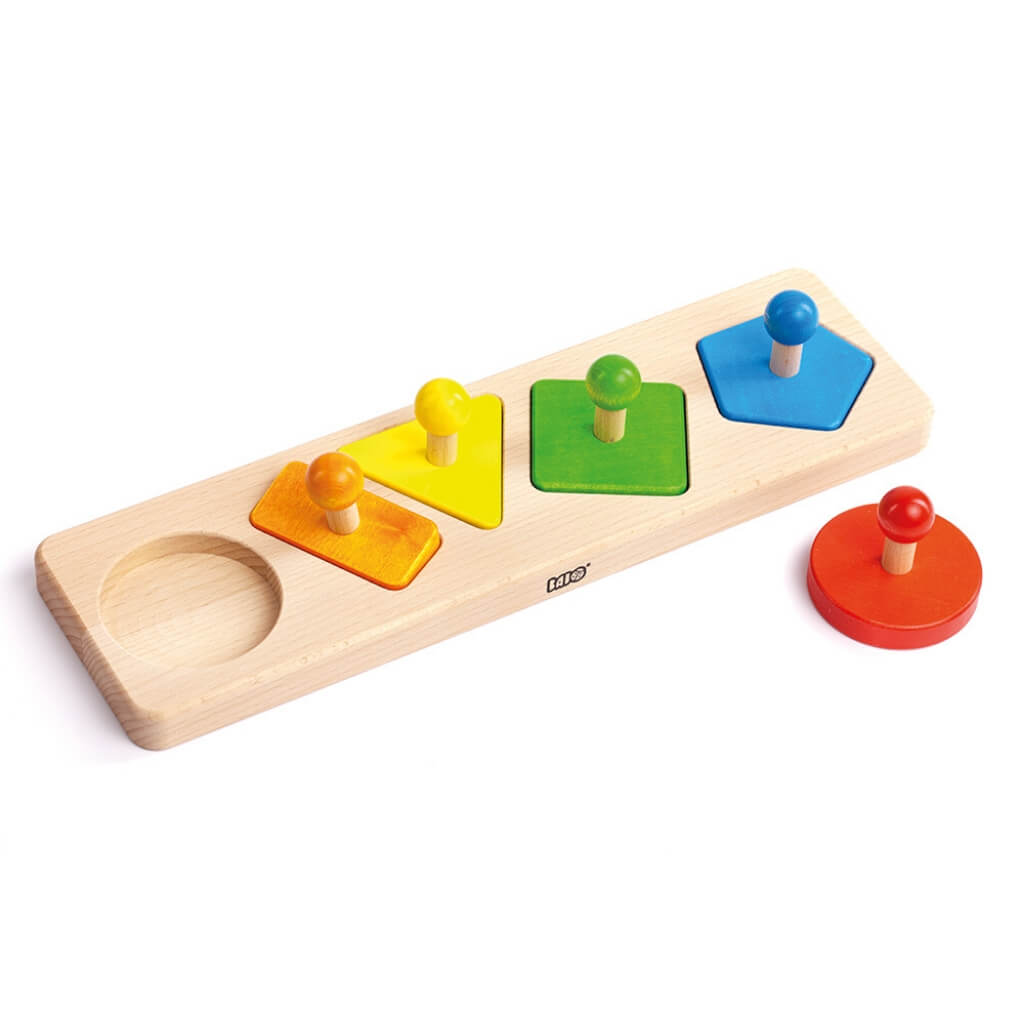 Bajo Shapes Sorting Board with the red circle outside of the board