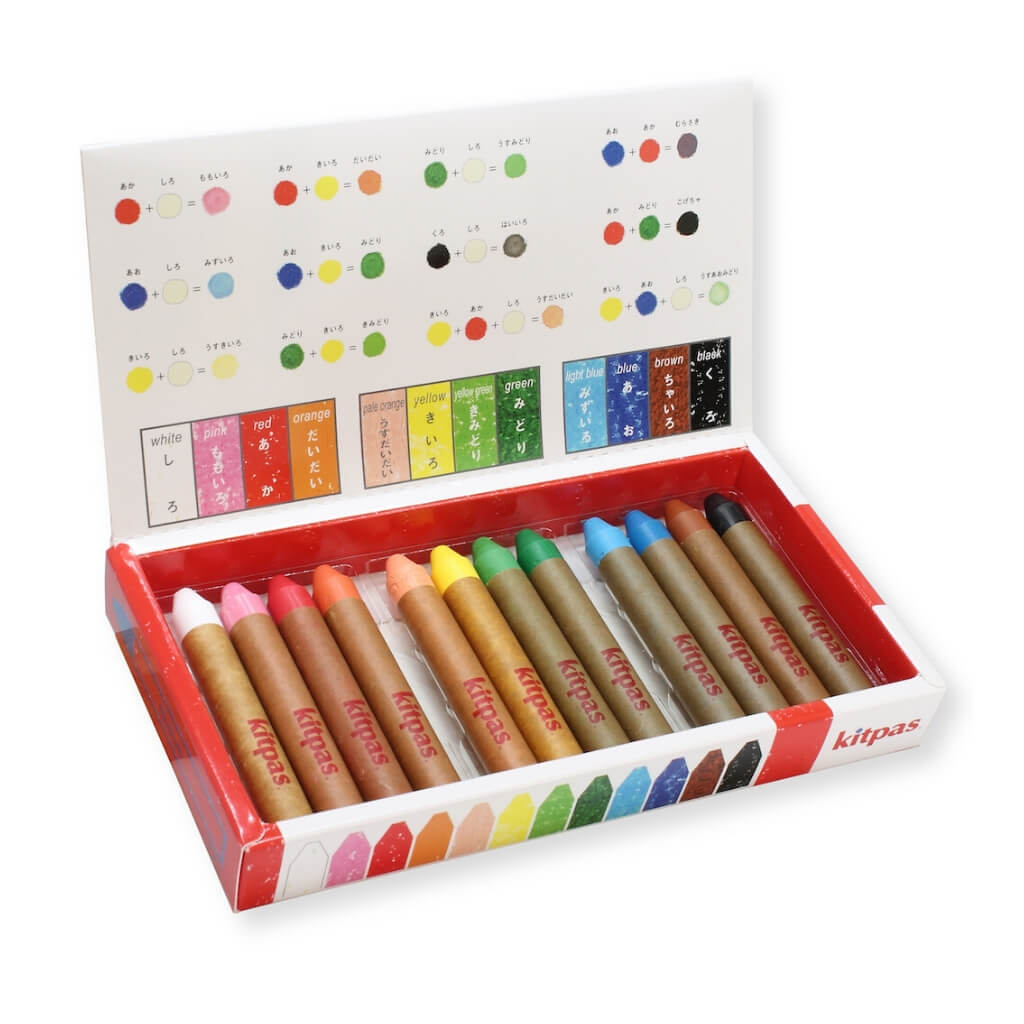 Kitpas Medium Crayons - Pack of 12 with box open