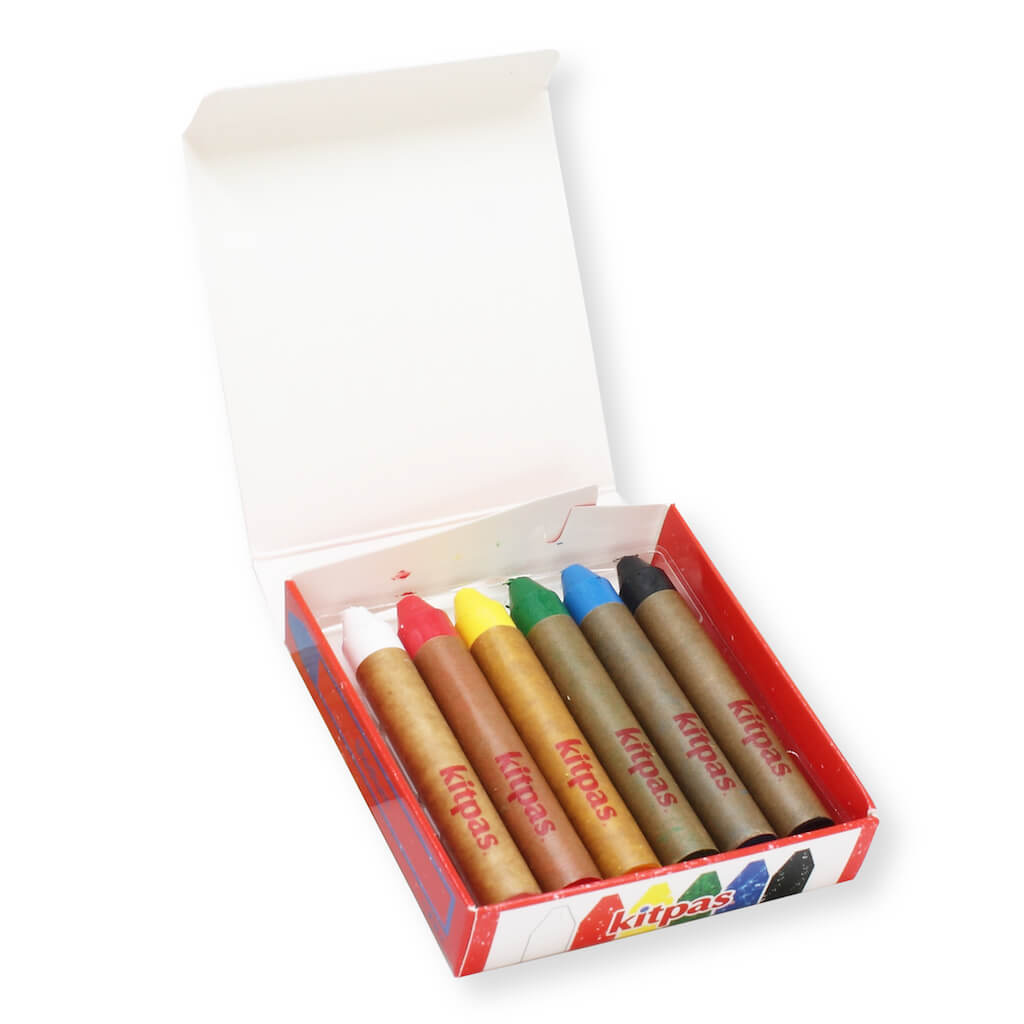 Kitpas Medium Crayons - Pack of 6 with box open
