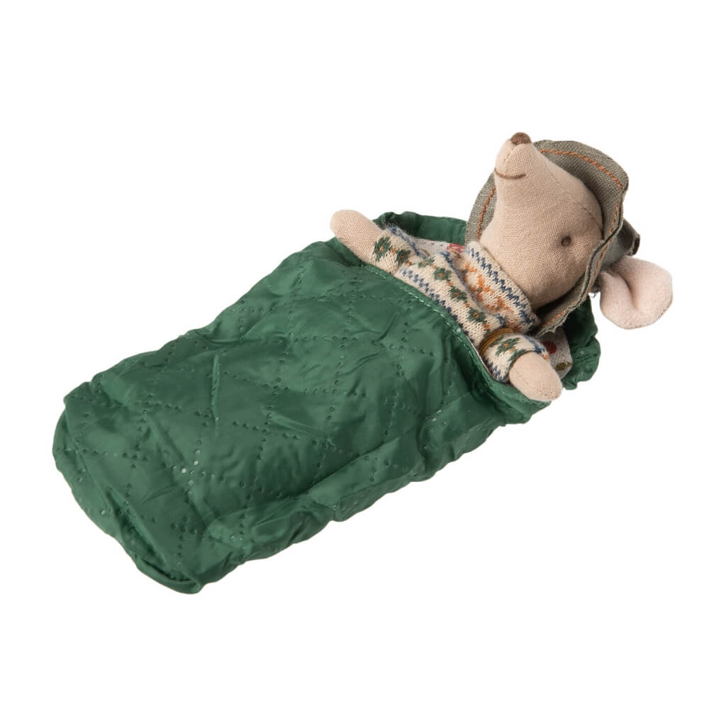 Maileg Big Brother Hiker Mouse in sleeping bag