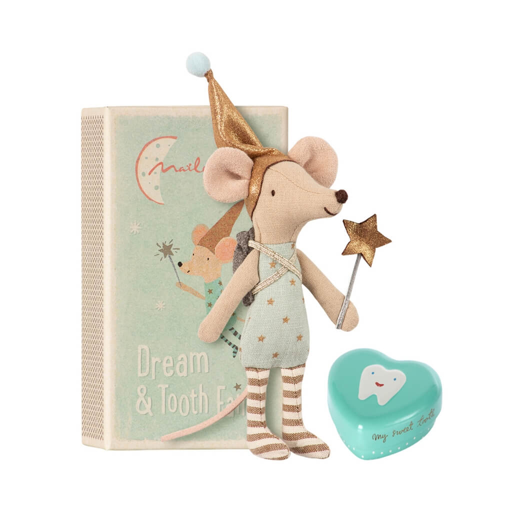 Maileg Big Brother Tooth Fairy Mouse standing next to box
