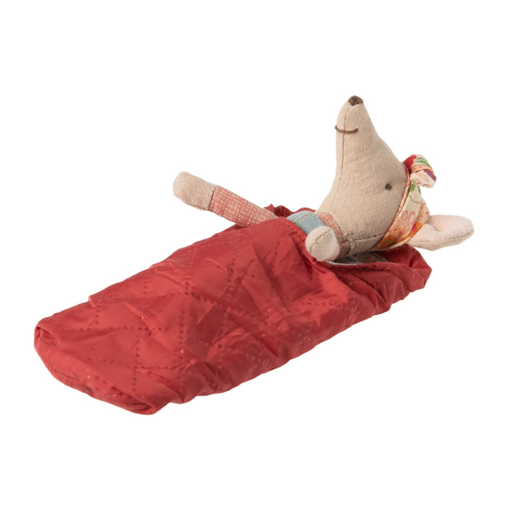 Maileg Big Sister Hiker Mouse in sleeping bag