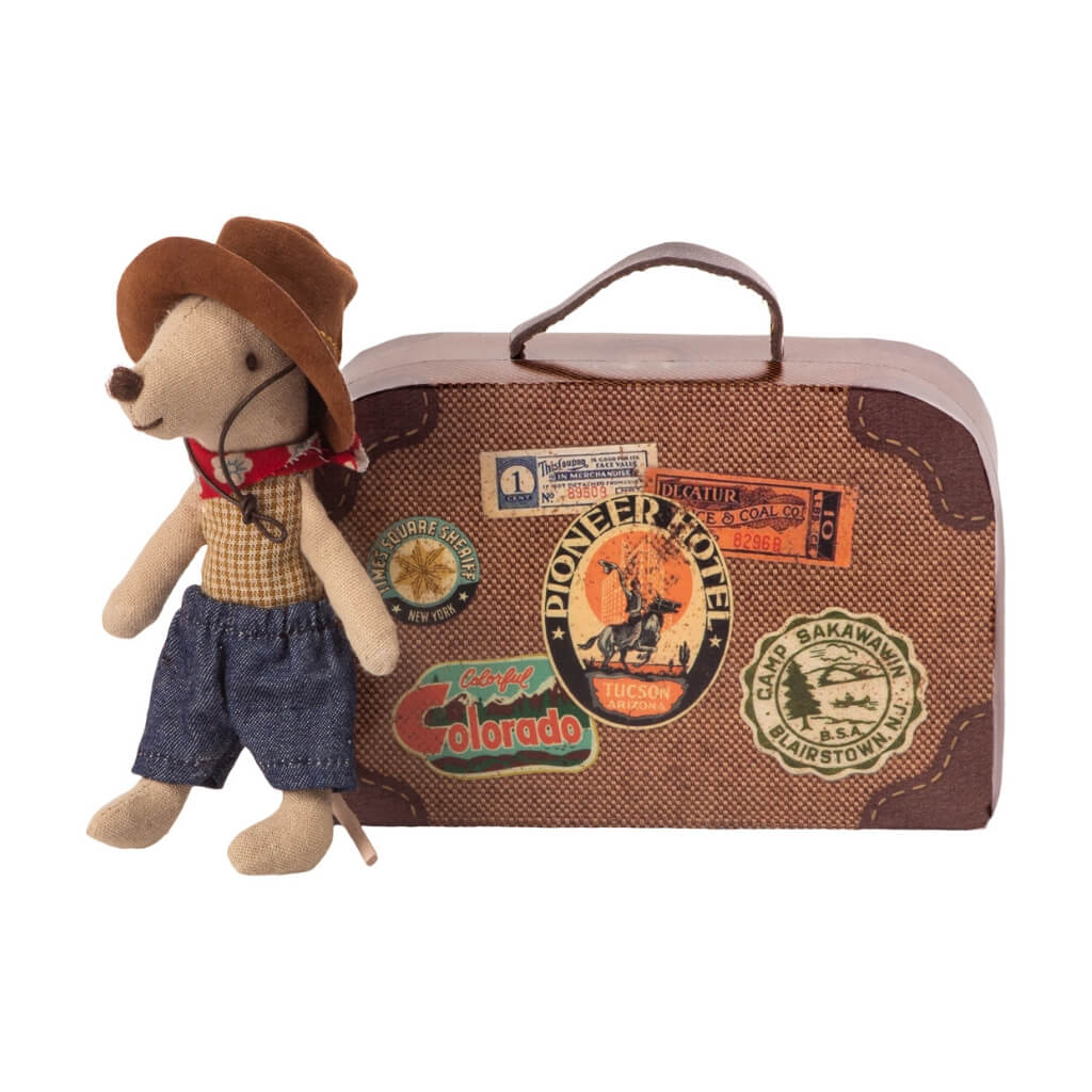 Maileg Little Brother Cowboy Mouse standing next to closed suitcase