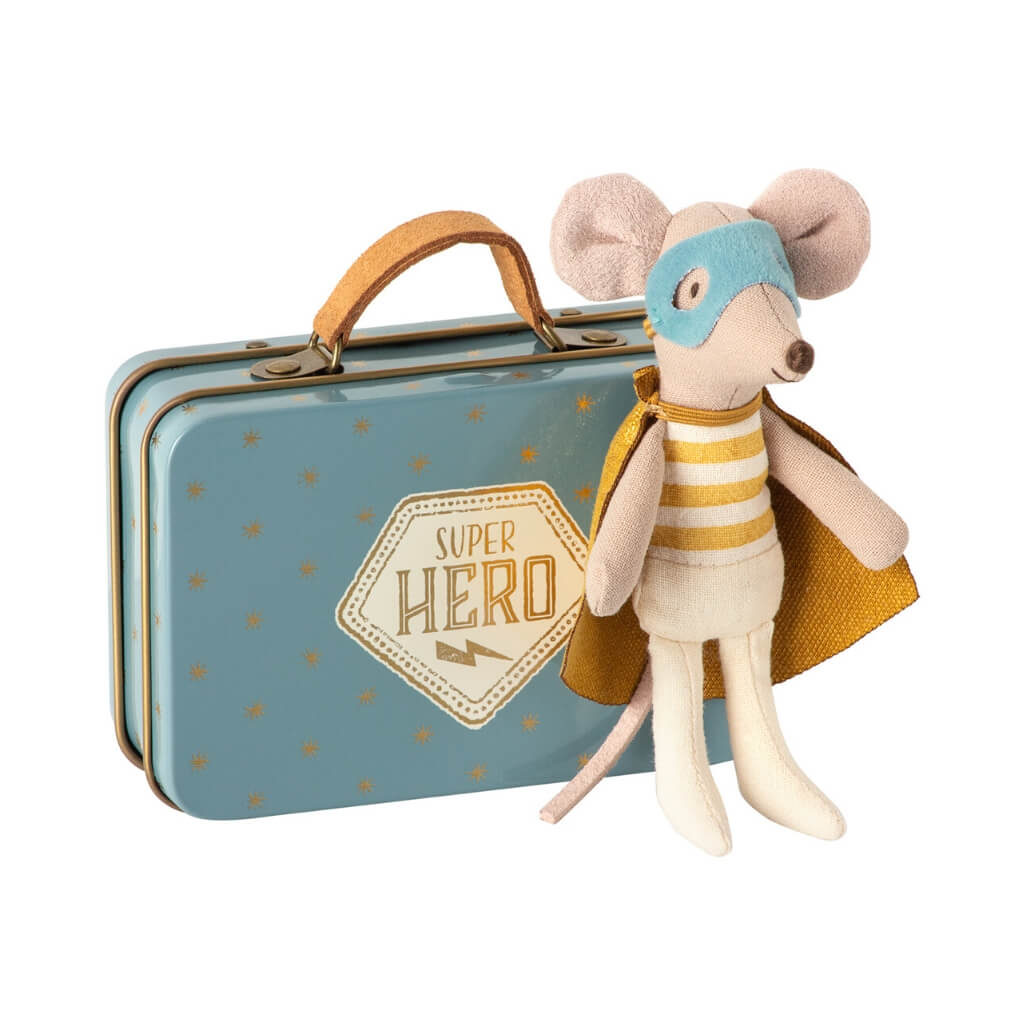 Maileg Little Brother Superhero Mouse standing next to suitcase
