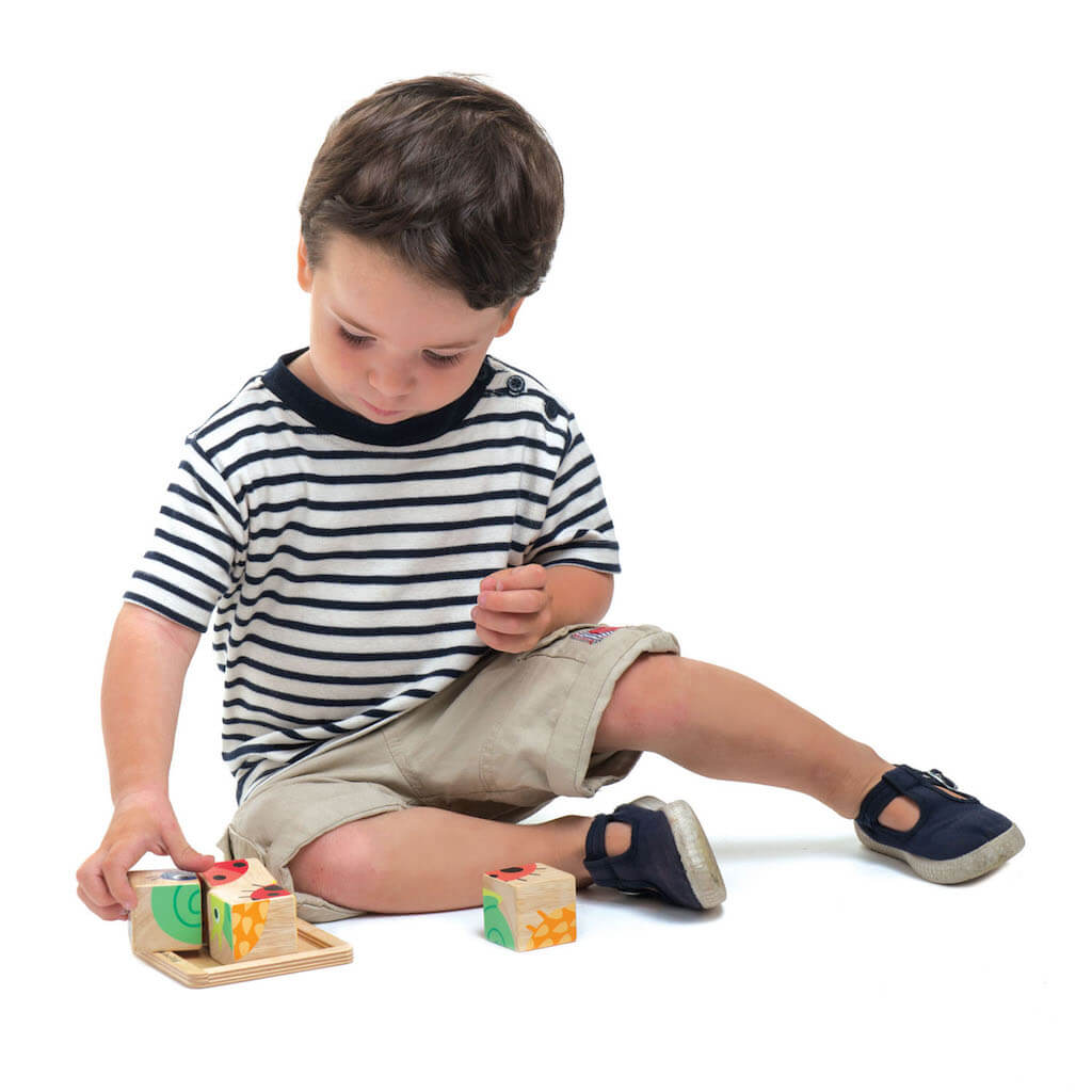 Boy playing with the Tender Leaf Toys Baby Blocks