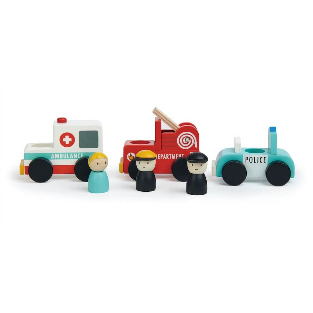 Tender Leaf Toys paramedic, fireman and policeman standing by their vehicles