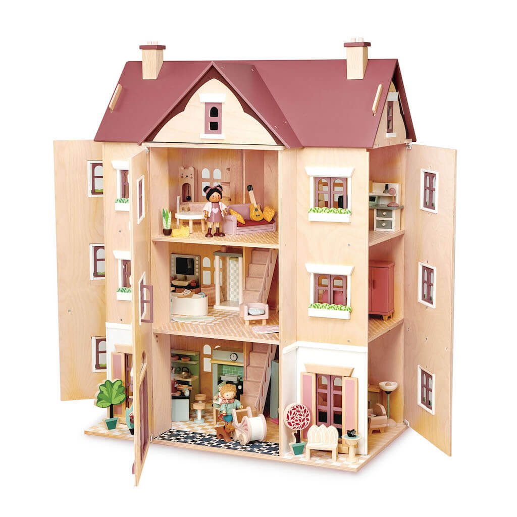 Tender Leaf Toys Fantail Hall Dolls House opened with furniture
