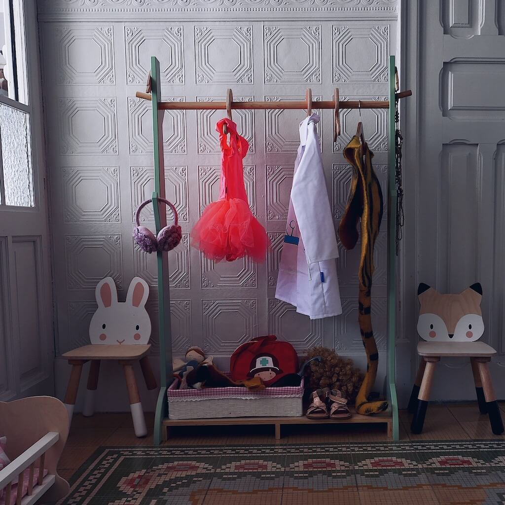 Lifestyle image of the Tender Leaf Toys Forest Clothes Rail