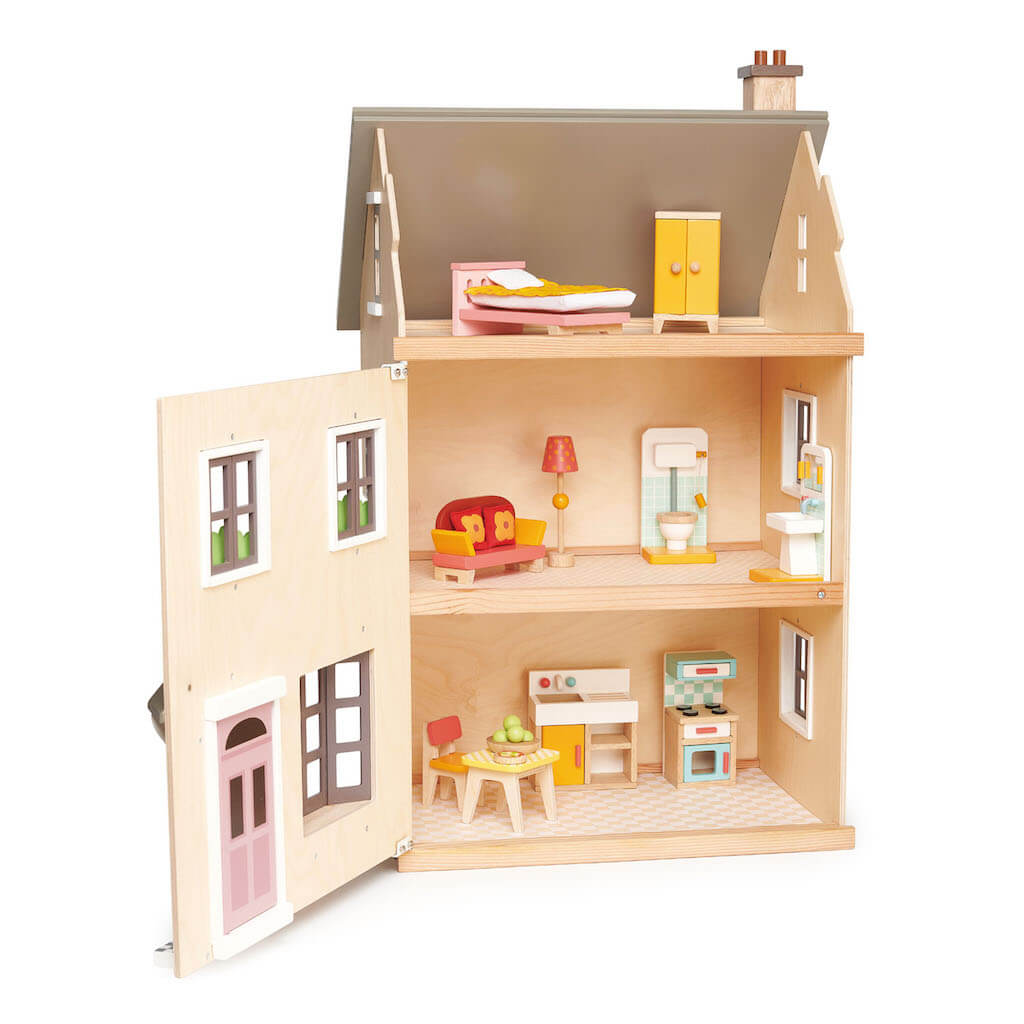 Tender Leaf Toys Foxtail Villa Dolls House opened with furniture