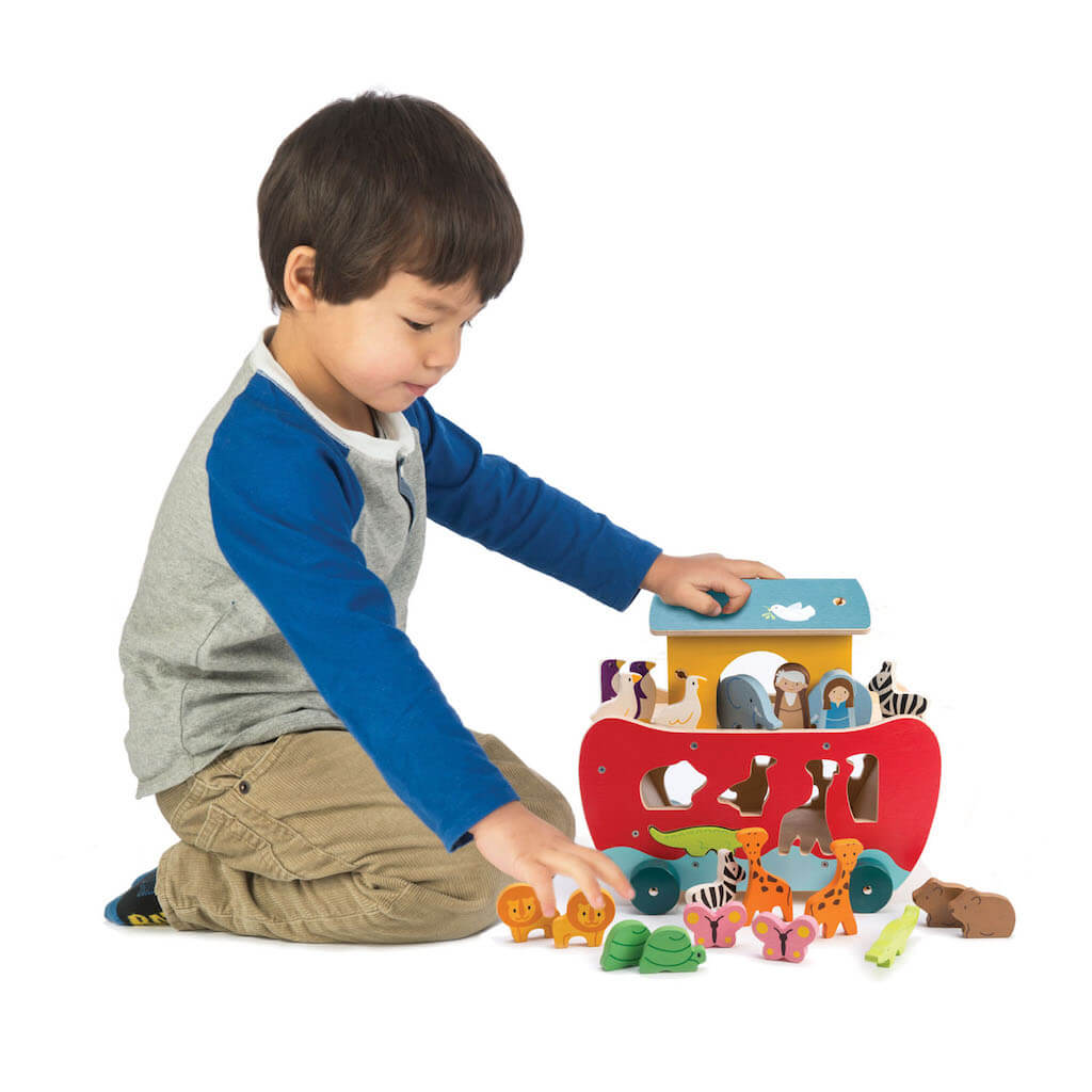 Boy playing with the Tender Leaf Toys Noah's Shape Sorter Ark