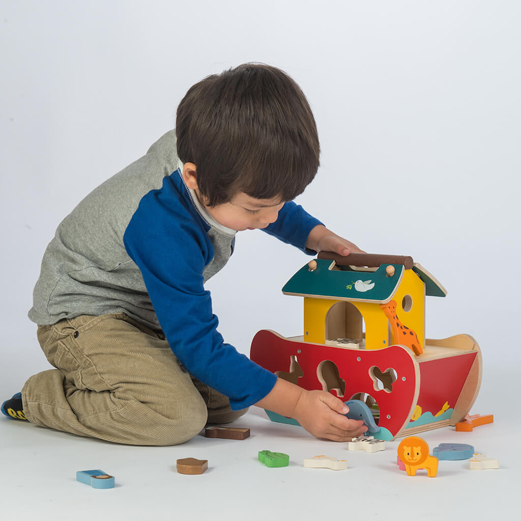 Boy playing and sorting with the Tender Leaf Toys Noah's Shape Sorter Ark