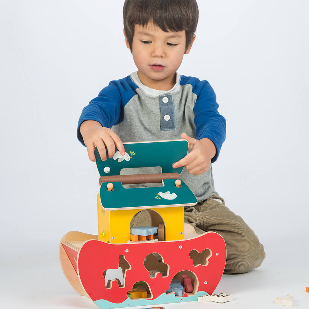 Boy opening the Tender Leaf Toys Noah's Shape Sorter Ark