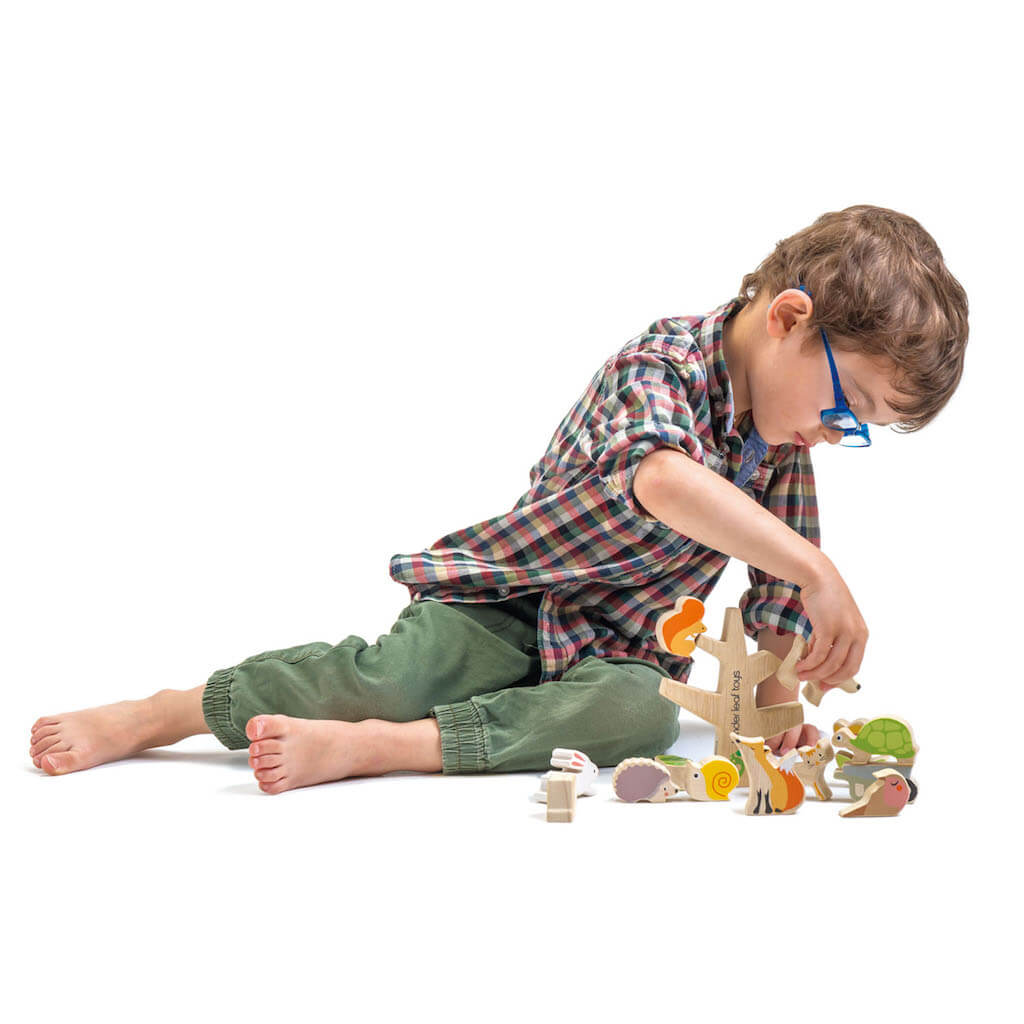 Boy playing with Tender Leaf Toys Stacking Garden Friends
