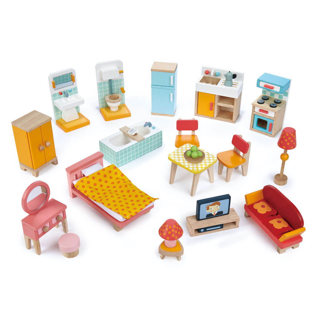 Tender Leaf Toys Townhouse Furniture Set all spread out