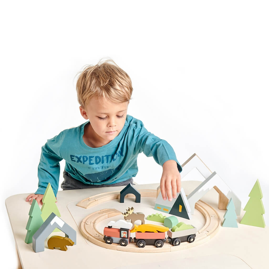 Boy playing with Tender Leaf Toys Mountain Pass Stack and Treetops Train Set