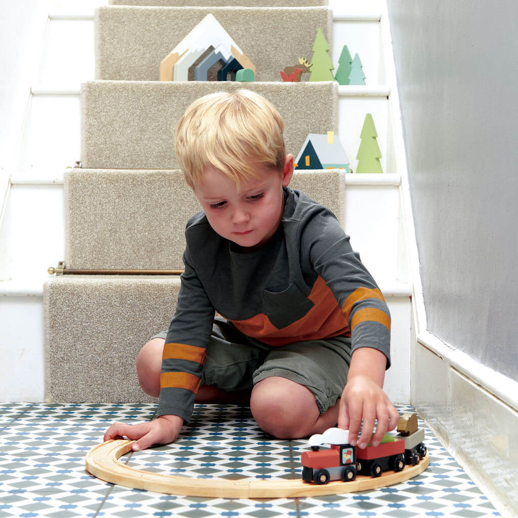Boy playing with the Tender Leaf Toys Treetops Train Set on the floor
